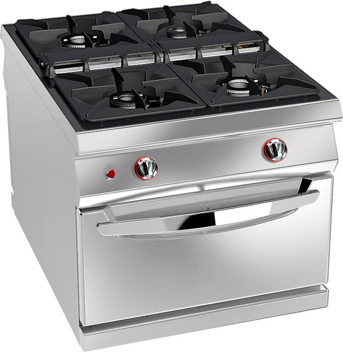 Cucina gas 4 fuochi su forno gas statico professionale - 08wfa4g