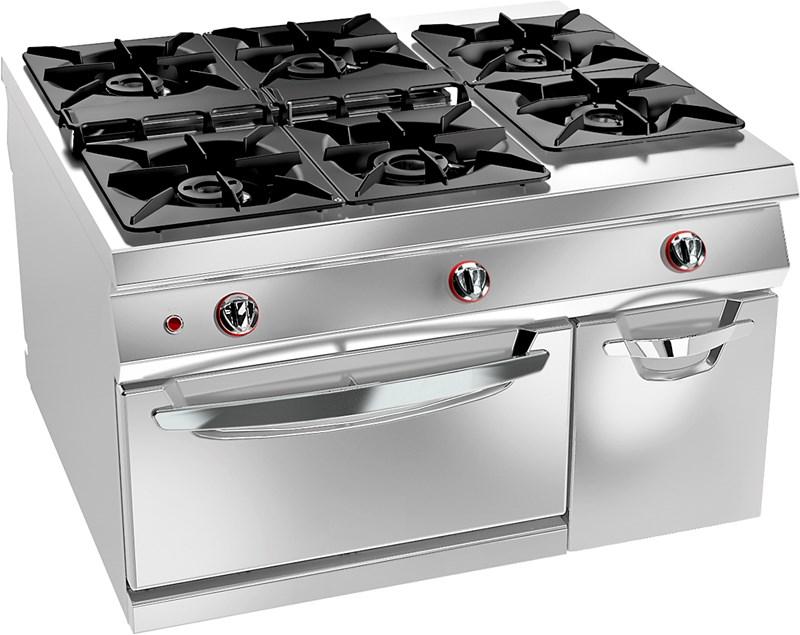 Cucina gas 6 fuochi su forno gas statico e vano 12wfa6g - Cucina 6 fuochi ...