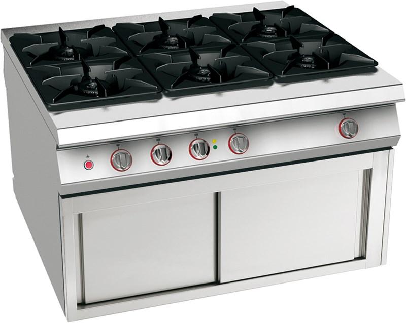 Cucina Gas 6 Fuochi Su Armadio Caldo Professionale 12wfaaa