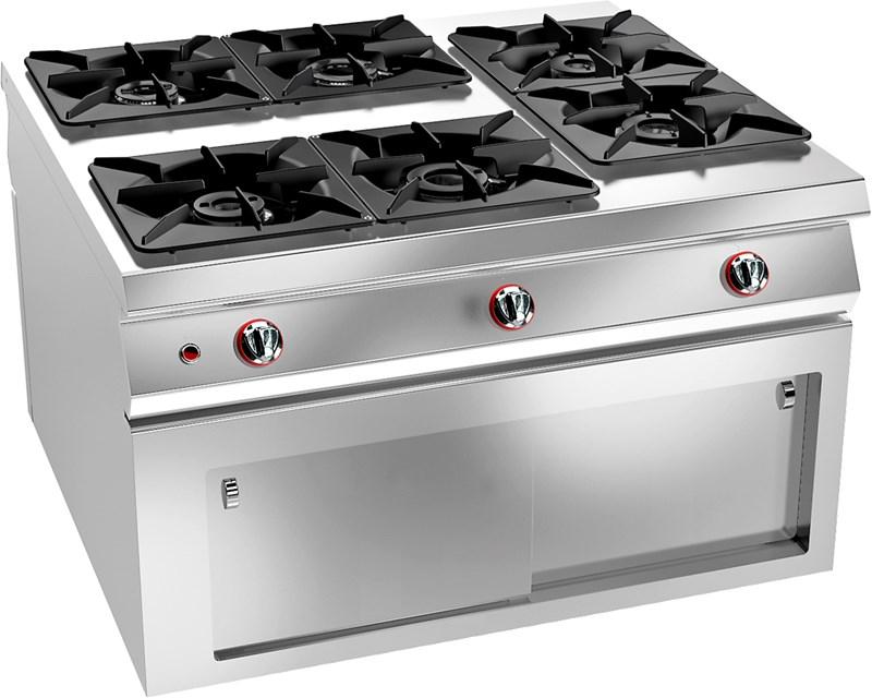 Cocina de gas 6 fuegos sobre armario neutro profesional for Cocina de gas profesional