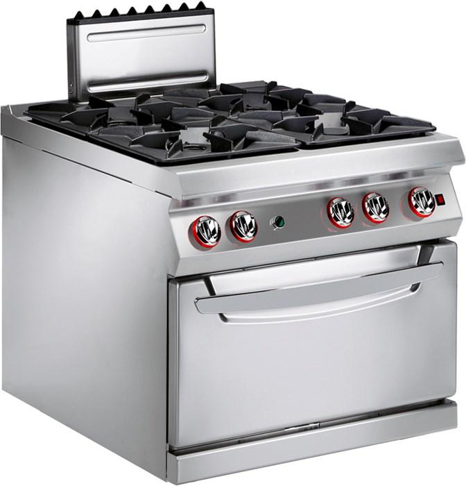cucina gas 4 fuochi con forno gas ventilato professionale - 191fagv - Cucina Quattro Fuochi