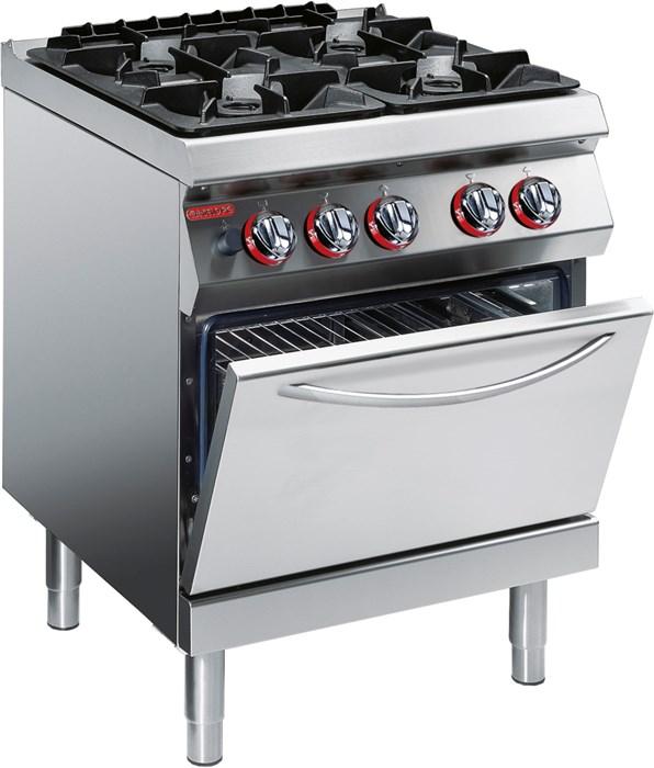 cucina gas 4 fuochi su forno elettrico statico