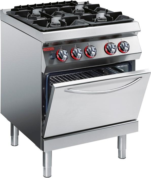 Cucina Gas 4 Fuochi Su Forno Gas Ventilato Professionale 1g1fa0gv