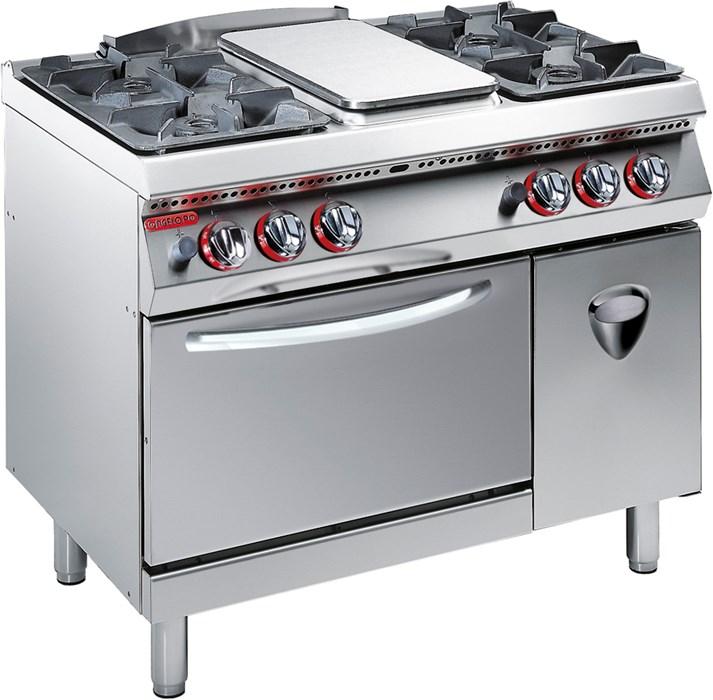 Cucina gas 4 fuochi piastra radiante su forno gas statico - Cucina con forno a gas ...