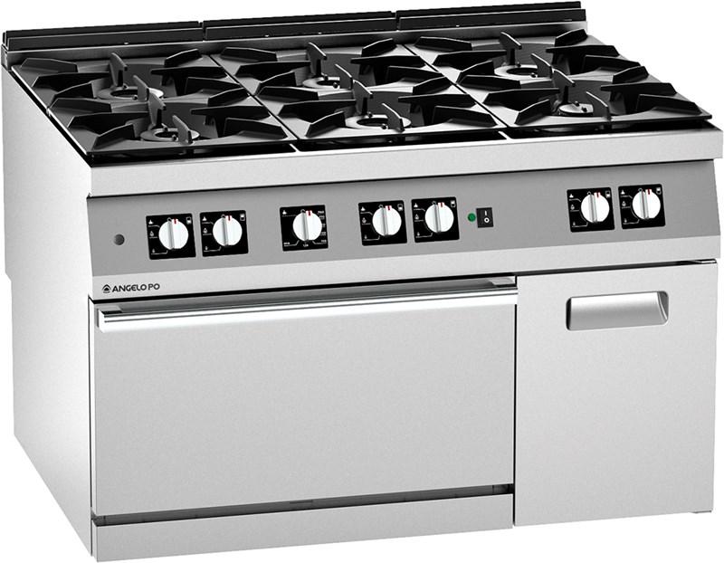 Cucina gas 6 fuochi forno a gas pluri ventilato e vano 2n1fagv - Cucina 6 fuochi ...