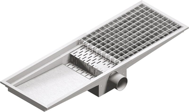 Grate floor drain 30x200, horiz. outlet professional - vco30200