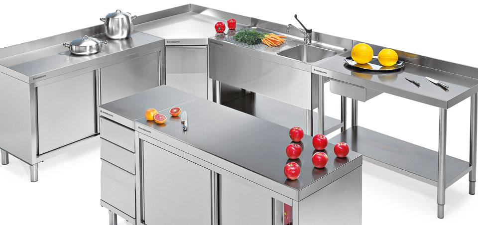 Mobili Cucina Professionale Acciaio.Tavoli Acciaio Inox Professionali Angelo Po