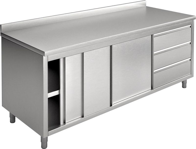 Tavolo armadio con porte scorrevoli e cassetti, con - ea18ac3d