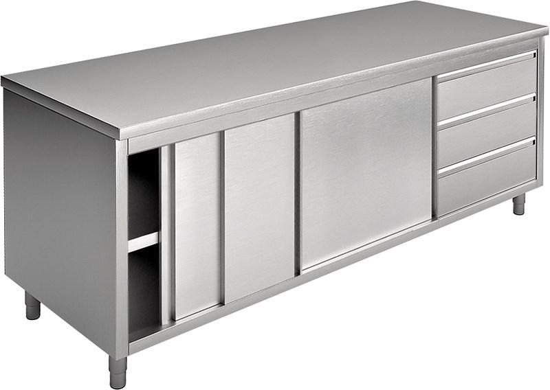 Tavolo armadio con porte scorrevoli e cassetti, piano ...